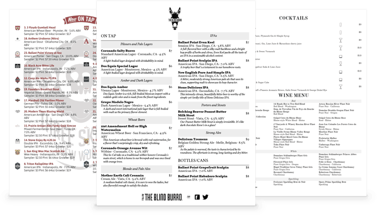 TapHunter beer print menu examples