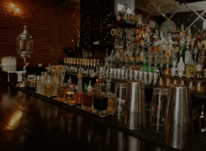 bar with inventory & bitters