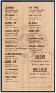 Coronado Brewing Co Digital beer board