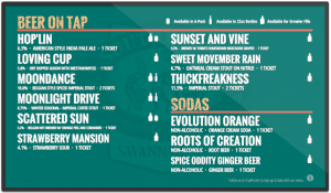 Southbound Brewing digital drink menu