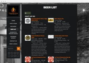 Twisted Oak Bar Website Beer List