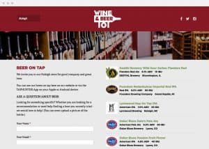 Wine & Beer 101 Website Menu