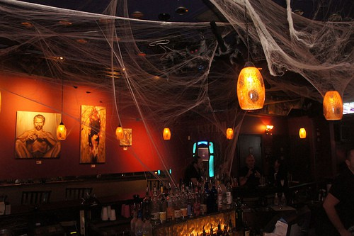 Halloween-decorated bar