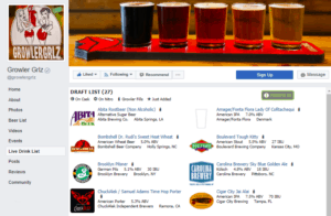 Growler Grlz live drink list on Facebook powered by TapHunter