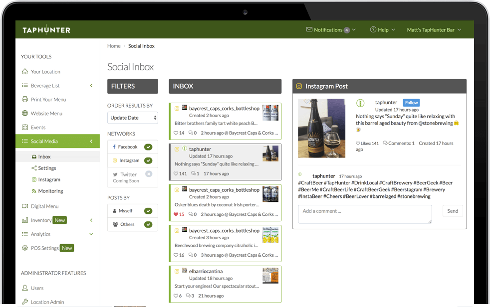 screenshot of Social Inbox from TapHunter for Business