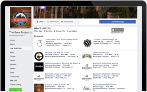 TapHunter's Facebook widget displaying an updated beer list