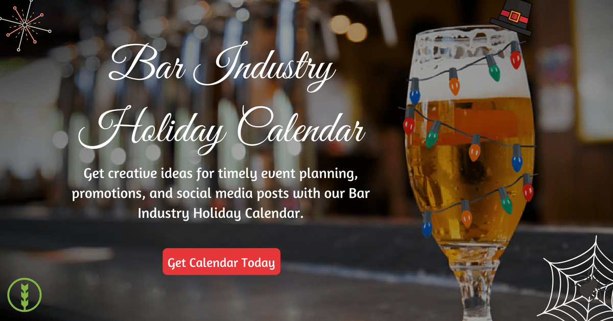 Promotional image for bar industry holiday calendar