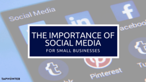 Photo displaying social media logos and a title for a blog post about the importance of social media for small businesses