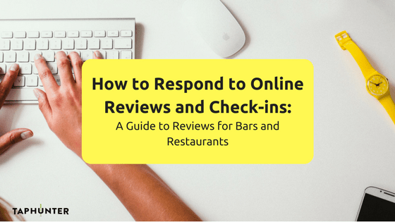 promo image for a blog post about responding to online reviews and check ins for bars and restaurants