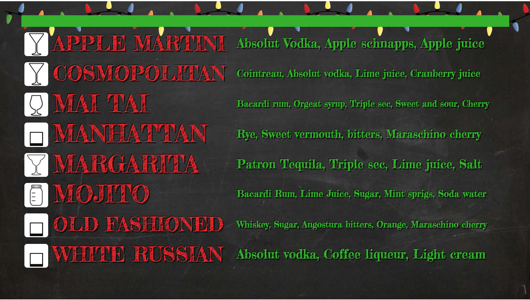 Winter Holiday Digital Menu Board