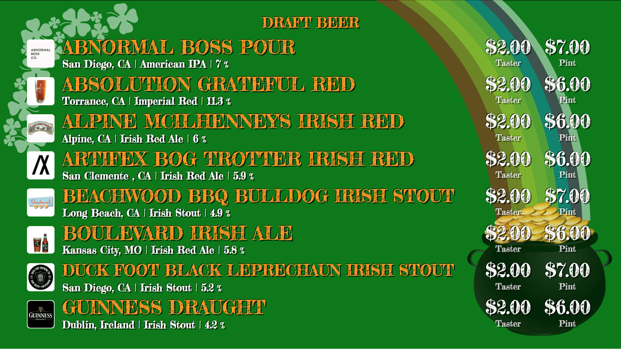 St. Patrick's Day Digital Board